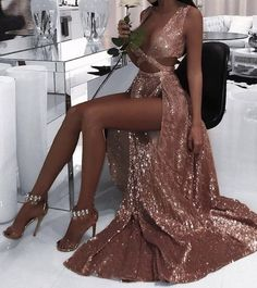 2018 Sexy Prom Dress, Hot Prom Dress,Charming Sexy Sequin Sparkly Simple Rose Gold Split Fashion Popular Prom Dresses, Evening Dress · bettybridal · Online Store Powered by Storenvy Split Prom Dresses, Sequin Prom Dresses, Black Prom Dresses, Dresses For Teens, Sexy Dresses, Evening Dresses, Bridesmaid Dresses, Dress Prom, Dress Black