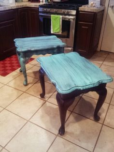 Antique. Distressed. Turquoise/brown. Distressed. End tables  I re painted.