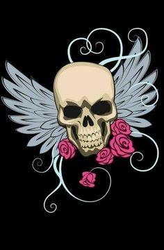 Skull with wings Girly Skull Tattoos, Sugar Skull Tattoos, Sugar Skull Art, Body Art Tattoos, Sugar Skulls, Tatoos, Compass Tattoo, Day Of The Dead Art, Skull Pictures