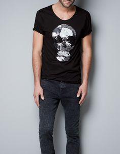 SEQUINNED SKULL T-SHIRT - T-shirts - Man - ZARA United States
