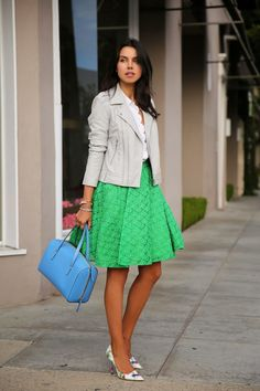 I love this skirt (go green!)...and of course the adorable floral pumps