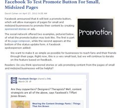 Facebook To Test Promote Button For Small, Midsized Pages
