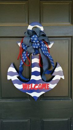 Wooden anchor, nautical decor, wood anchor, unfinished wooden anchor, decorative front door anchor, wooden anchor wreath. by MatchPointGifts on Etsy