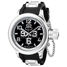@Overstock - This chronograph timepiece features 60-second, 30-minute and 1/10-second subdials. Black rubber watch strap. This Invicta men's watch has Swiss quartz movement.http://www.overstock.com/Jewelry-Watches/Invicta-Mens-Russian-Diver-Watch/3141148/product.html?CID=214117 $109.04