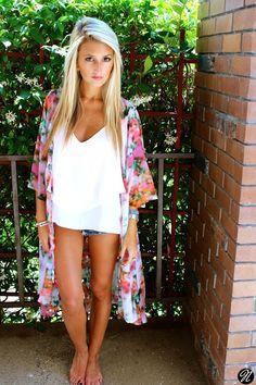 .jean shorts, oversized white top, floral kimono & bare feet. she is gorgeous!