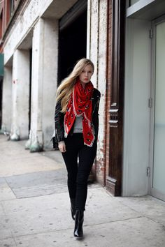 red scarf with leather jacket