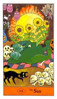 XIX The Sun - The Halloween Tarot Deck by Karin Lee, Artwork by Kipling West, 1996.