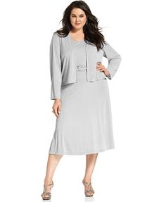 $81 Jessica Howard Plus Size Dress and Jacket, Sleeveless Rhinestone-Buckle