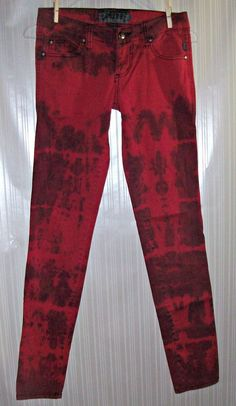 DARNG GOODMAN TRIPP Size 1 Black/Red Tye-Dyed Tapered Jean Look Pants #DarngGoodmanTrippNYC #CasualPants