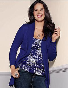 With subtle ribbed trim and an open placket, our long sleeve cotton cardigan is your go-to throw-on for maximum comfort! Soft, cozy and versatile overpiece layers on all your favorite tops for instant warmth. Ribbed trim on cuffs and hem complete the look. lanebryant.com