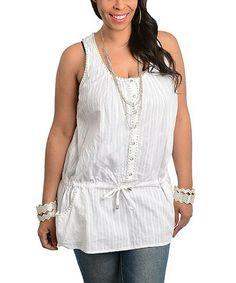Another great find on #zulily! White Button-Up Tie-Waist Tank - Plus #zulilyfinds