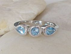 Anniversary Ring featuring Blue Topaz- Engagement Ring- Birthstone Ring- Promise Ring- Wedding Band- 3 Stone Ring- Genuine Blue Topaz Ring