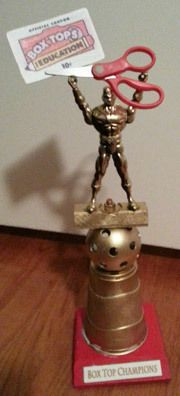 Instead of box tops make it a traveling trophy for fundraising nights or event participation? Pta School, School Fundraisers, School Stuff, School Ideas, School Holiday Party, Kids Art Class, Box Tops, Classroom Decor, Elementary Schools