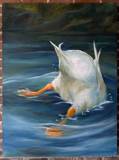 Original Duck Butt Art Painting in OIL by HangingtheMoonShelby
