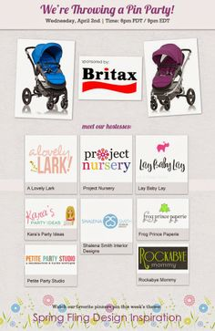 A Lovely Lark: Spring Fling Pin Party tonight with @Britax & @Project Nursery | Junior Nursery at 6pm PDT/9pm EDT along with @Joni Lay / Lay Baby Lay and a bunch of other lovely bloggers! Hope to see you there xo.