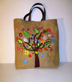 Handmade large jute unique tote handbag ,applique, citi bag, summer tote bag,La ricchesa di nature