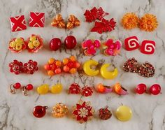VTG Lot Red Orange Yellow Signed Rhinestone Bead Cluster Craft Earrings 17 Pair+