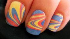 Water Marble Nail Art, via YouTube.      soooo coool!!!!!!!!!!!