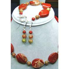 SALE 30 OFF, Red Jasper Necklace, Bracelet Earrings, Semi Precious Gem... ($106) ❤ liked on Polyvore featuring jewelry, gemstone jewelry, red jewelry, semi precious stone jewellery, red jewellery and sterling silver jewellery
