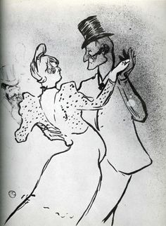 La Goulue and Valentin, Waltz via Henri de Toulouse-Lautrec