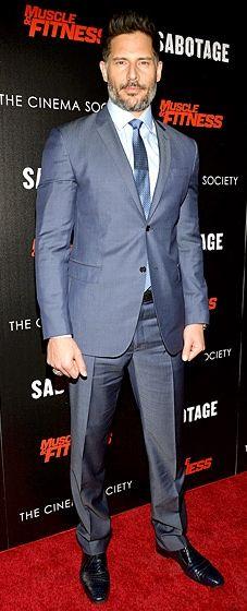 "Joe Manganiello smolders in a steel blue John Varvatos Collection suit at a screening of ""Sabotage"""