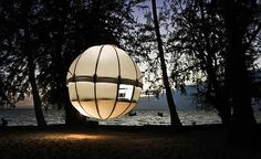 Cocoon Tree treehouse. Suspend in trees, on the ground, over water etc. Holds a ton. Looks like so much fun!