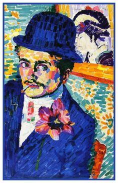Man with a Tulip Geometric Cubism by Artist Robert Delaunay Counted Cross Stitch or Counted Needlepoint Pattern