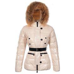 7d855d75988 Moncler Gene Design Down Jackets Womens Decorative Belt Beige