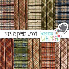 Rustic Wood Digital Paper plaid digital by NorthernWhimsyDesign