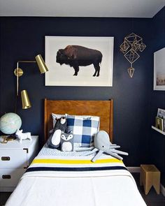 Such a cute little boys room by @brittanymakes. Love that giant buffalo print, and those sweet stuffed animals. It's making me VERY excited to get started on Charlie and Elliot's new rooms. #EHDweekendmakeover