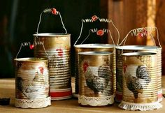 Tin can votive holders. So completely adorable! I even love the roosters on them. A 'will do' project. Tin can votive holders. So completely adorable! I even love the roosters on them. A 'will do' project. Tin Can Art, Tin Art, Tin Can Crafts, Diy And Crafts, Bottles And Jars, Mason Jars, Tin Can Decorations, Tin Can Flowers, Chicken Crafts