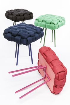 If i had a vanity i would so need one of these neato stools – Artofit Diy Furniture Couch, Recycled Furniture, Furniture Design, Knot Pillow, Upcycled Home Decor, Chair Upholstery, Cool Chairs, Diy Room Decor, Diy And Crafts