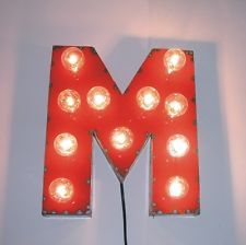"""Red """"M"""" Vintage Industrial Metal Marquee Art Sign Theater Letters with Lights"""