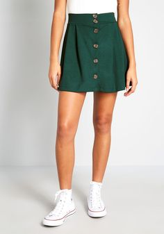 Pretty Knit Button-Front Skirt - Get buttoned up and ready to go in this dark green knit skirt. A high-waisted offering from our ModCloth label, this mini separate lends itself essential, versatile, and downright cute. Just team it with your fave tanks, blouses, and sweaters, and you'll see what we mean!