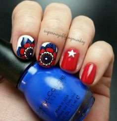 4th of July nails reverse stamped using MoYou London stamping plates