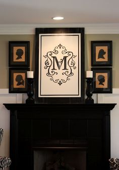 Love the large monogram for over the mantle artwork