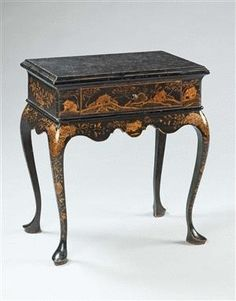 Chinoiserie - A Japanned Miniature Low Boy - England, c.1710