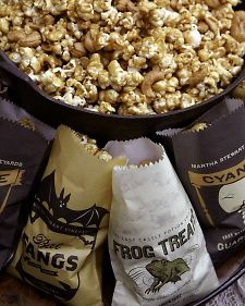 pack two different types of homemade popcorn into a paint can style tin. This si the martha stewart recipe for macadamia popcorn