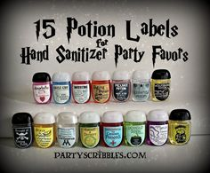 THIS IS AN INSTANT DOWNLOAD DIGITAL FILE THAT YOU PRINT, FOR ASSEMBLED ITEMS SEE PRINTING INFO BELOW OR MESSAGE ME. 15 different potion labels to print and make favors for your birthday, wedding, stocking stuffers, in a gift basket or wizard party. The labels fit a Bath & Body Works PocketBac hand sanitizer but can be re-sized to fit whatever container or bottle you would like, just message me. These are available in a package deal here: https://www.etsy.com/listing/...