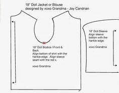 """Lace Hankie into a 18"""" Doll Top, free pattern and tutorial on how to make this quick, easy doll top.  Go to the website to download this pattern."""