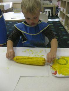 Corn on the cob painting, USE corn holders.