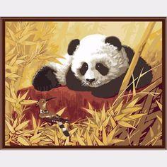 Aliexpress.com: Compre Pintura digital diy tinta acrílica para a pintura imagem de animais panda lona para pintura 40 X 50 cm coloração por números G340 de confiança cores da pintura viver paredes da sala fornecedores em DIY handwork
