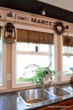 Repurposed Grain Sacks Make Quaint Curtains