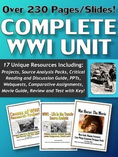 A complete unit for World War One (WWI) that covers all the major events, battles and themes of World War One (WWI). This World War One (WWI) Unit contains 17 unique resources that total over 230 pages of content! The resources offer an interesting and engaging variety of strategies and will excite your students when they learn about World War One (WWI)!