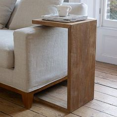 Sumatra Over Arm Side Table is part of Sofa arm table - Our Sumatra side tables are handmade by artisans from reclaimed teak in Indonesia Handmade Furniture, Rustic Furniture, Diy Furniture, Furniture Design, Simple Furniture, Handmade Table, Woodworking Furniture, Furniture Stores, Furniture Plans