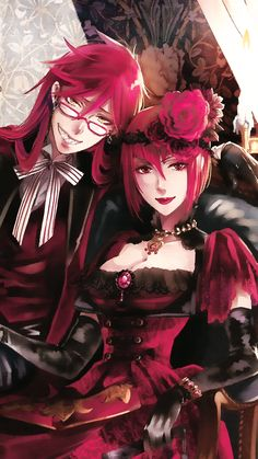 Grell and Angelina (Madame Red) | Kuroshitsuji - Black Butler #Anime #Manga
