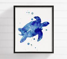 Watercolor Turtle Sea Turtle Turtle Art Print by MiaoMiaoDesign