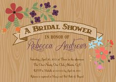 Rustic Wood Grain Floral Bridal Shower by PartyPopInvites on Etsy, $17.00