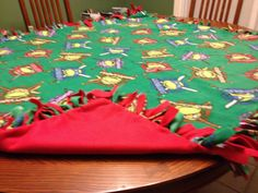 """PRICE: $35.00. Fleece NInja Turtle blanket with red backing (""""55 X 48"""") MADE BY KRIS"""