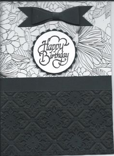 black & white Happy Birthday w/black bow